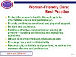 woman friendly care best practice
