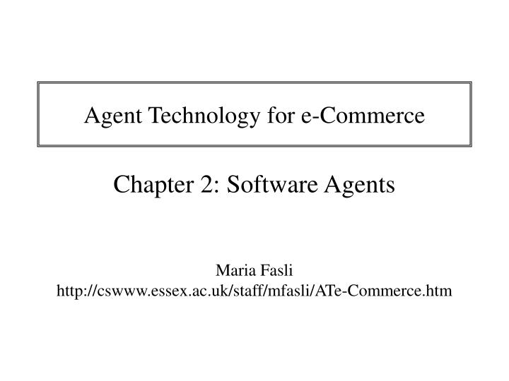 agent technology for e commerce n.