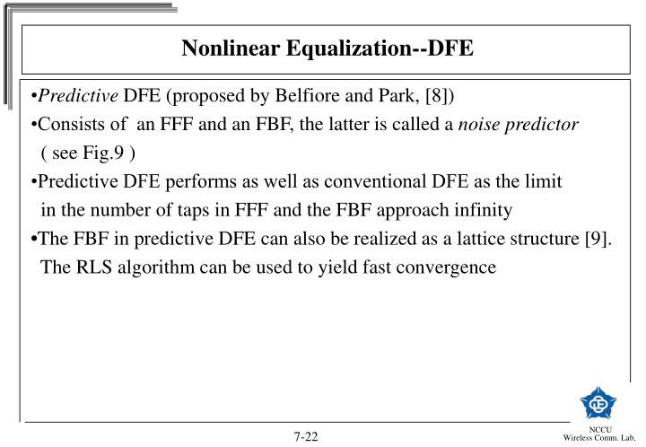 Nonlinear Equalization--DFE