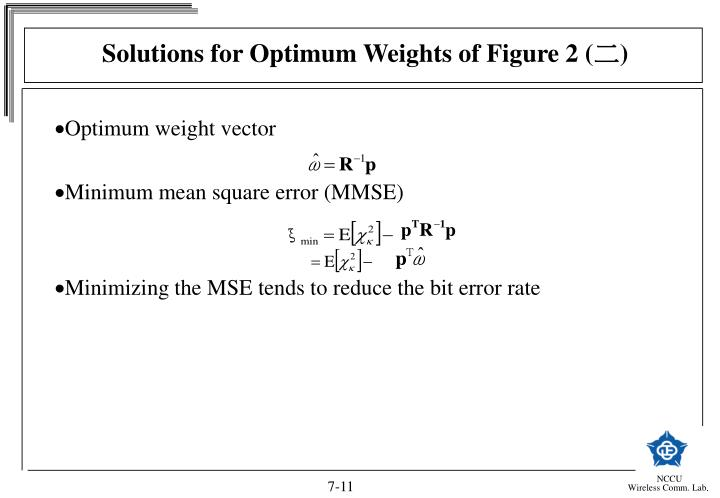 Solutions for Optimum Weights of Figure 2 (