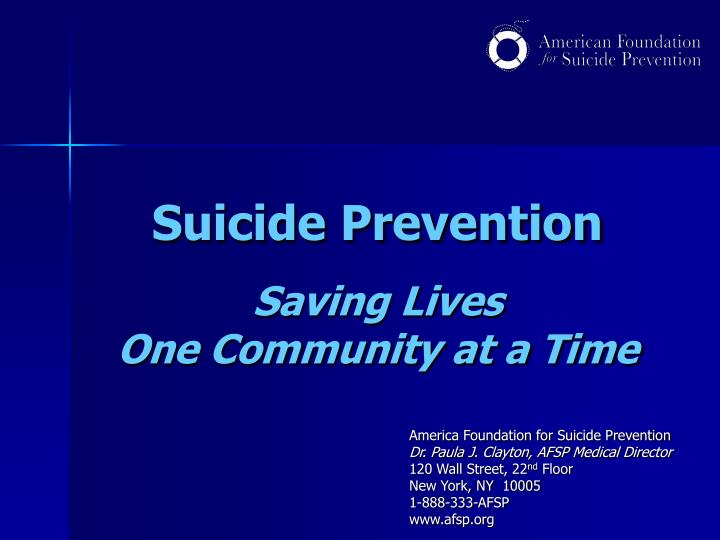 suicide prevention saving lives one community at a time n.