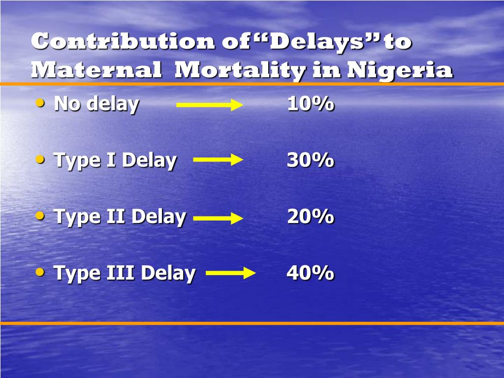 """Contribution of """"Delays"""" to Maternal  Mortality in Nigeria"""