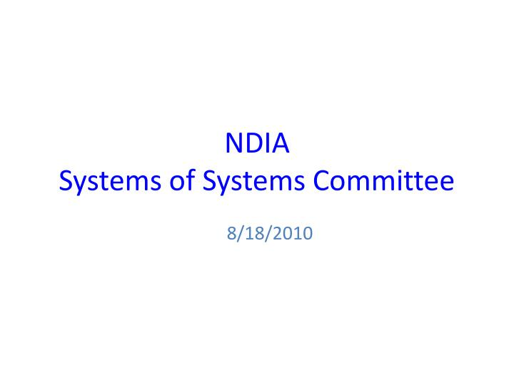 ndia systems of systems committee n.
