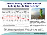 translate intensity duration into extra carbs or bolus or basal reduction