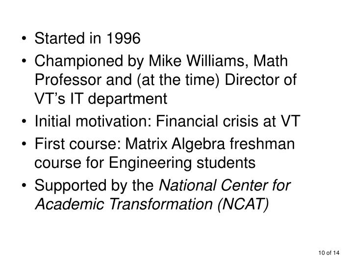 Started in 1996