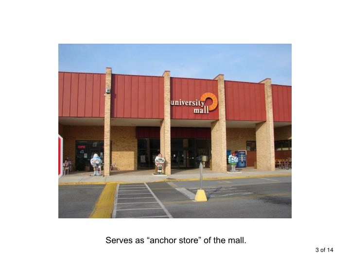 """Serves as """"anchor store"""" of the mall."""