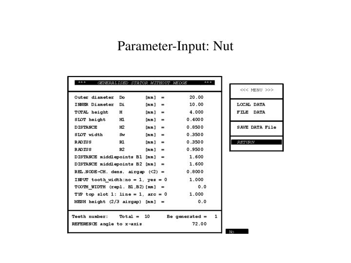 Parameter-Input: Nut