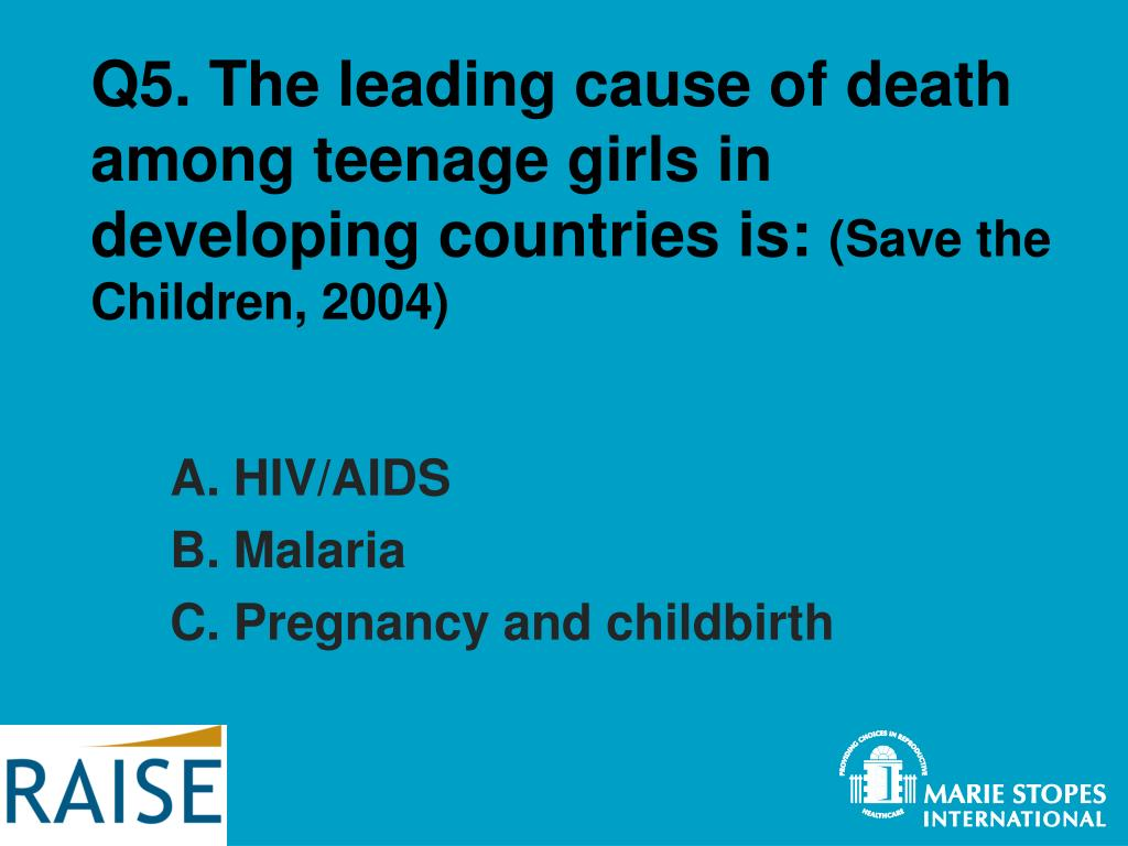 Q5. The leading cause of death among teenage girls in developing countries is: