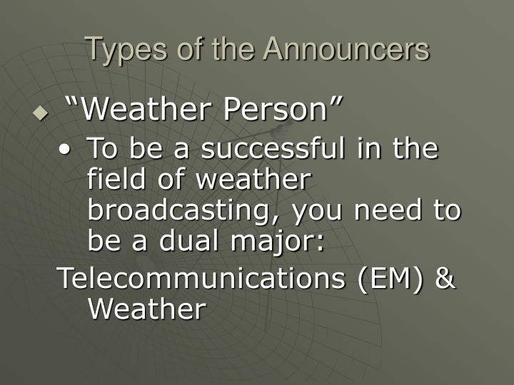 Types of the Announcers