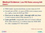 medical evidence low pid rates among iud users