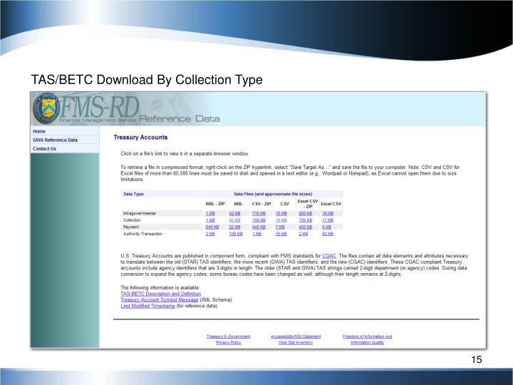 TAS/BETC Download By Collection Type