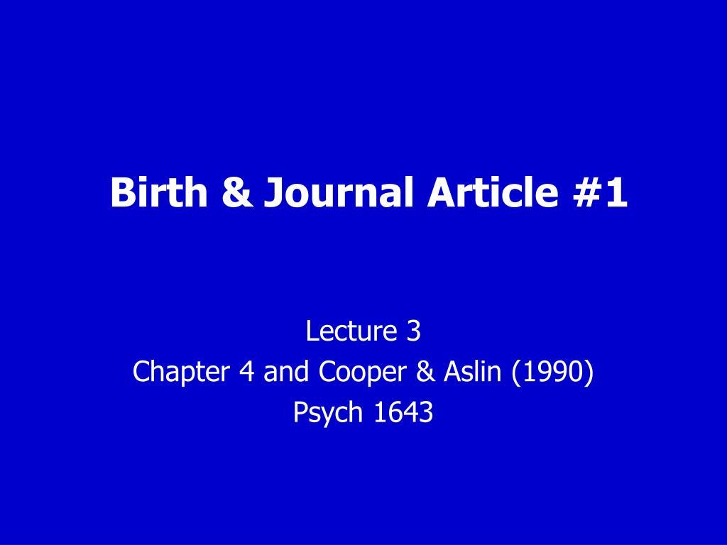 birth journal article 1 l.