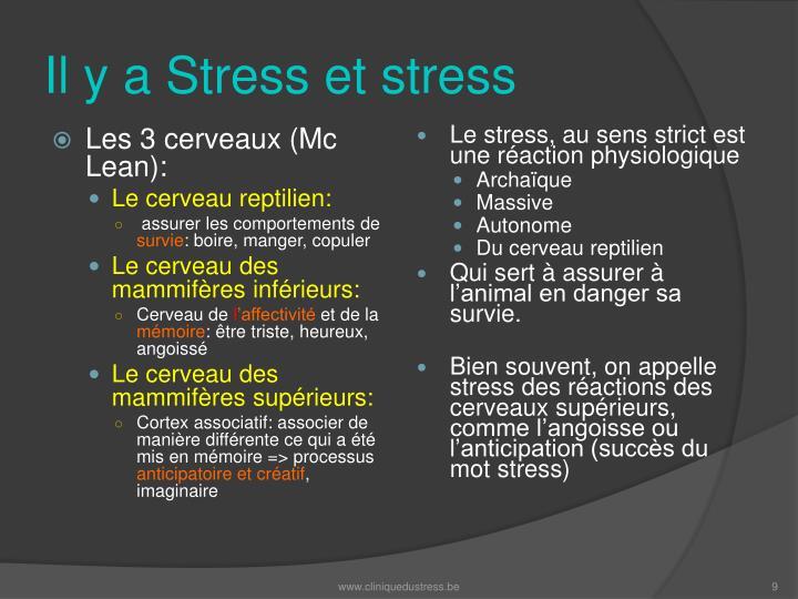 Le stress, au sens strict est une réaction physiologique