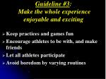guideline 3 make the whole experience enjoyable and exciting