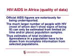 hiv aids in africa quality of data