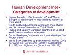 human development index categories of development