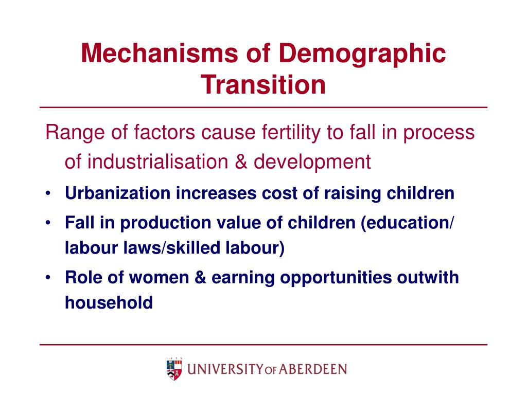 Mechanisms of Demographic Transition