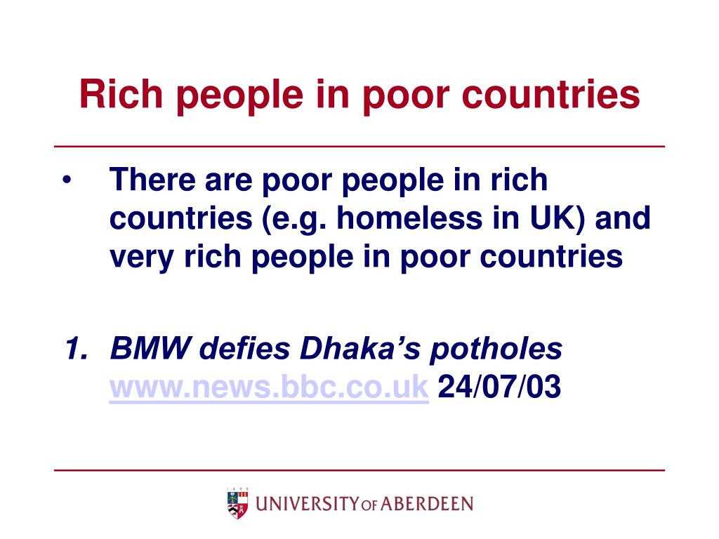 Rich people in poor countries