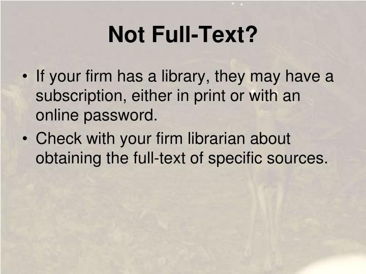 Not Full-Text?