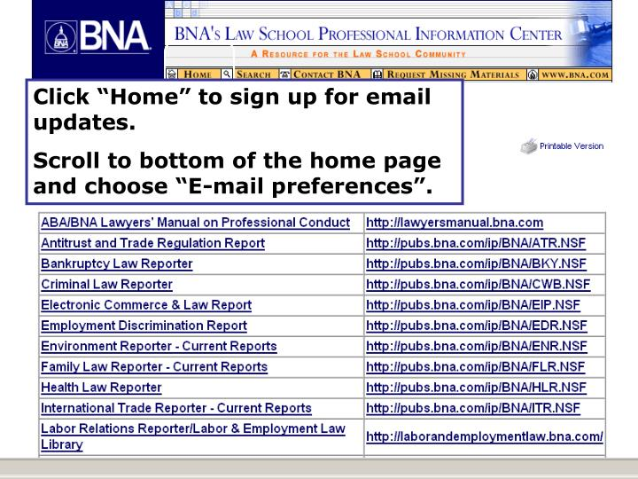 """Click """"Home"""" to sign up for email updates."""