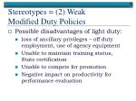 stereotypes 2 weak modified duty policies