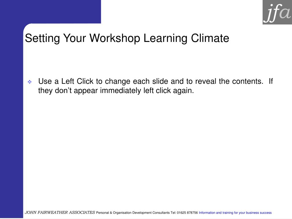 setting your workshop learning climate l.