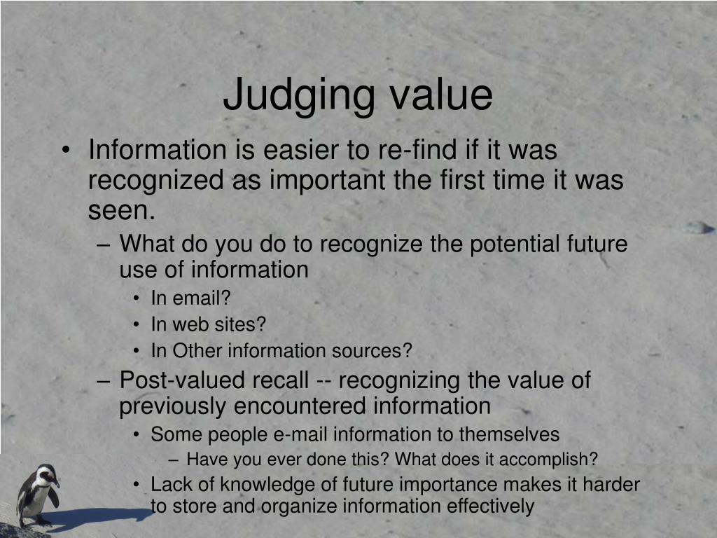 Judging value