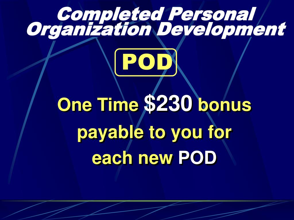 Completed Personal Organization Development