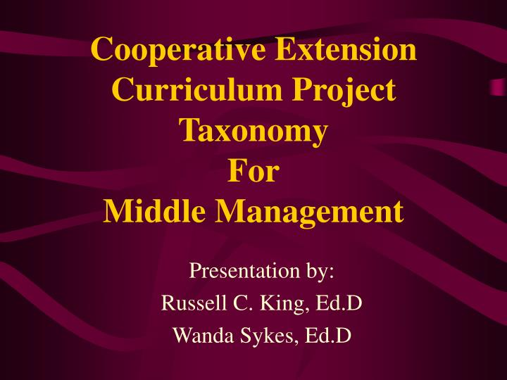 Cooperative extension curriculum project taxonomy for middle management