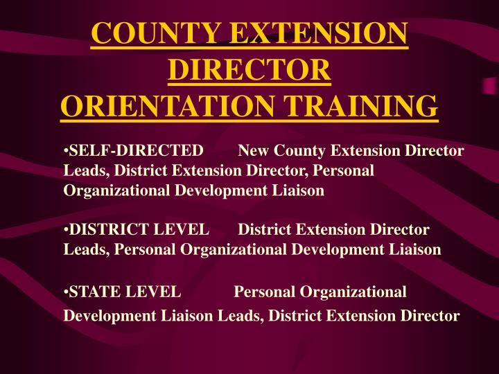 County extension director orientation training