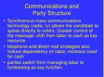communications and party structure