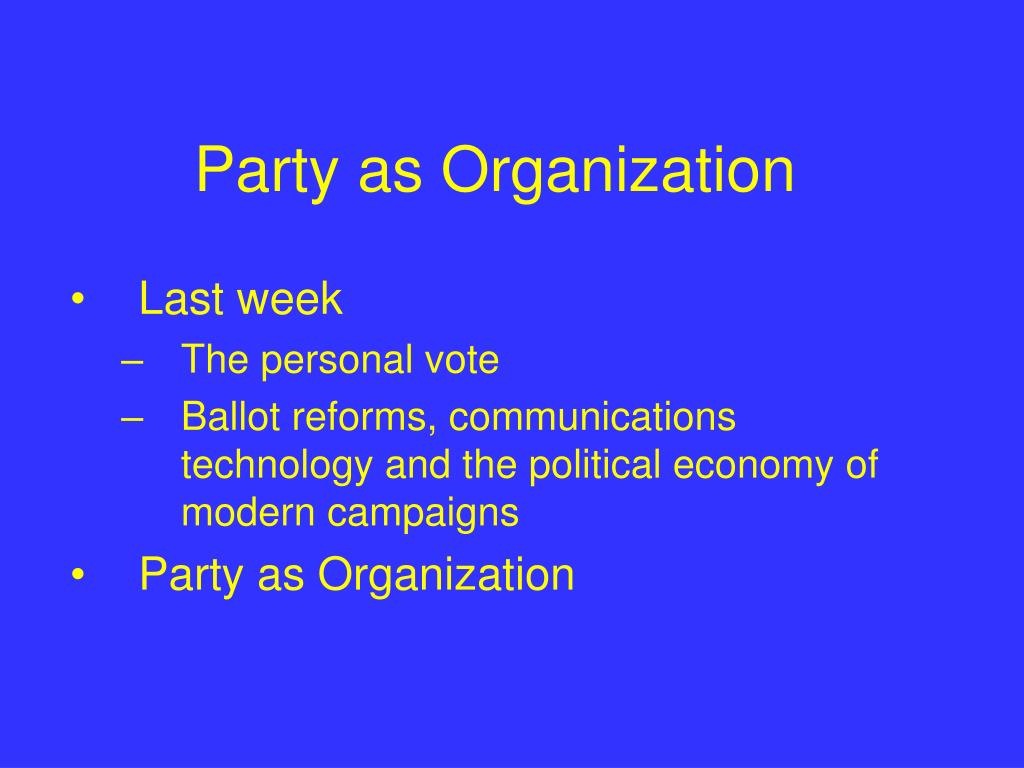 party as organization l.