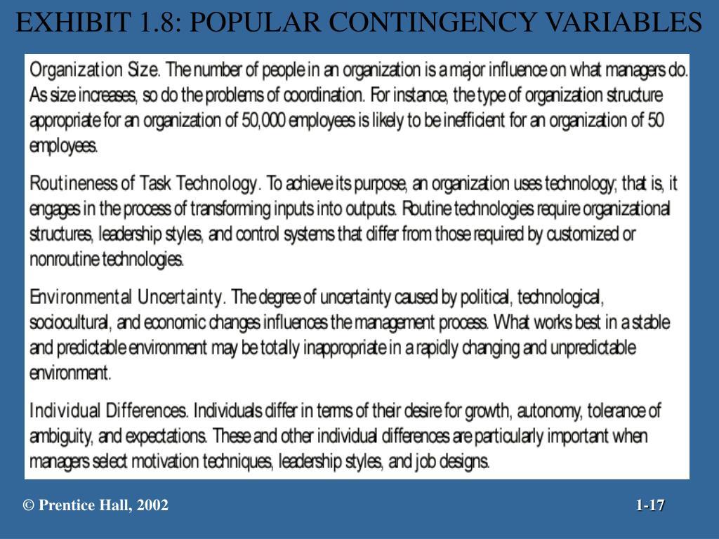 EXHIBIT 1.8: POPULAR CONTINGENCY VARIABLES