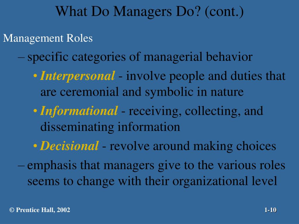 What Do Managers Do? (cont.)