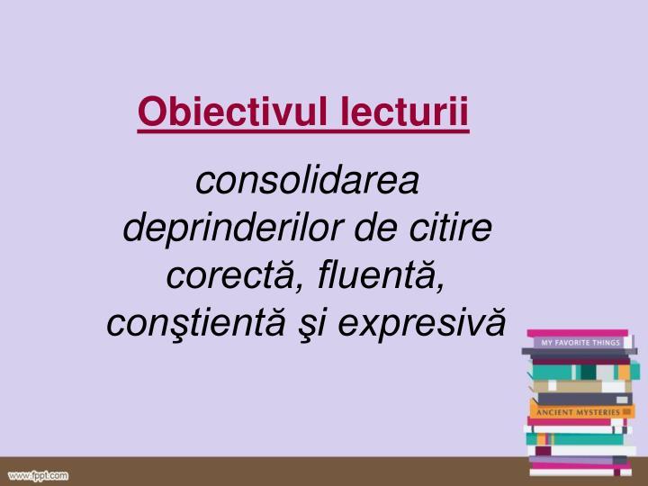 O biectivul lecturii