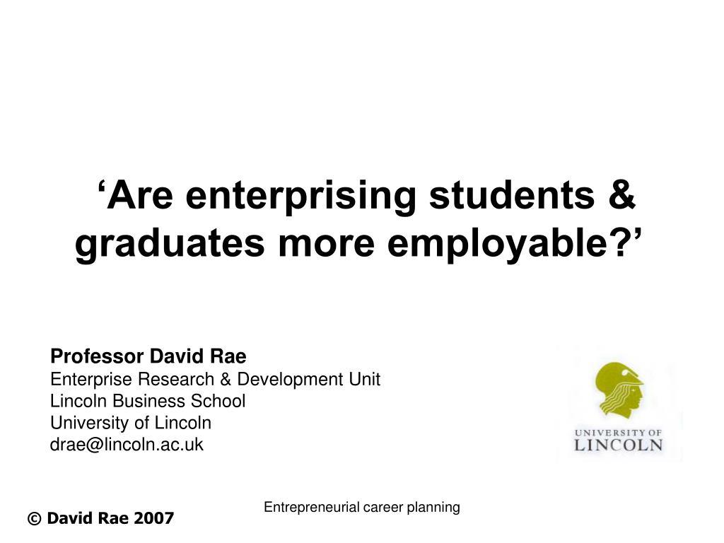 are enterprising students graduates more employable l.