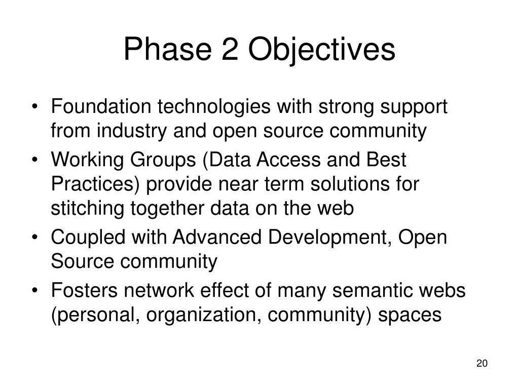 Phase 2 Objectives