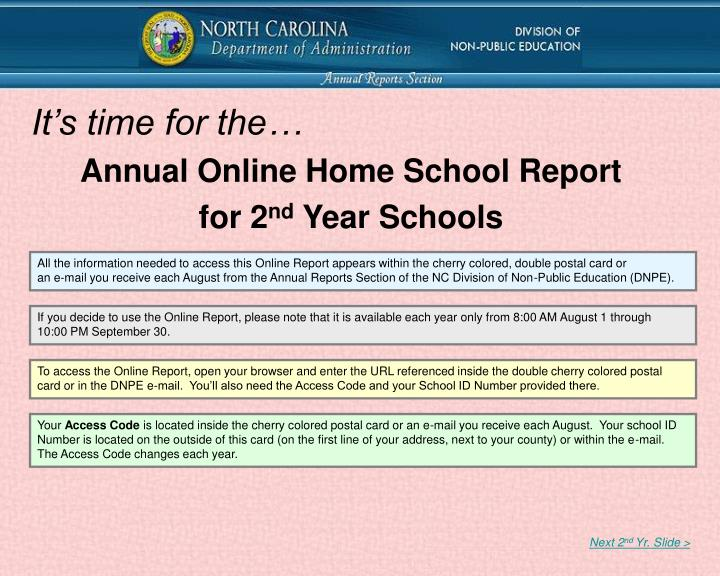 annual online home school report for 2 nd year schools n.