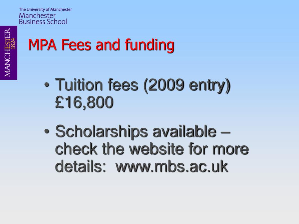 MPA Fees and funding