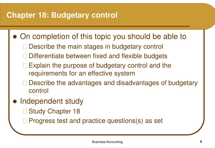 budgetary control and procedure as a