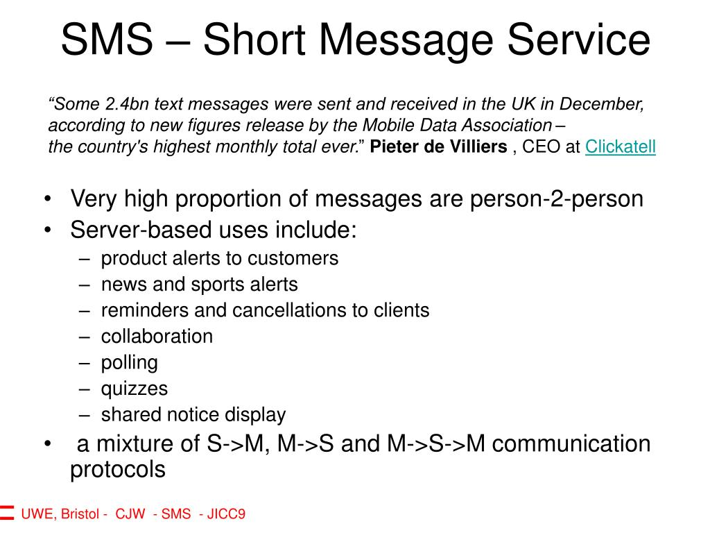 SMS – Short Message Service