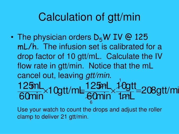Calculation of gtt/min