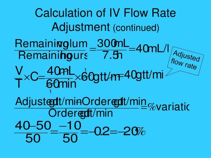 Calculation of IV Flow Rate Adjustment