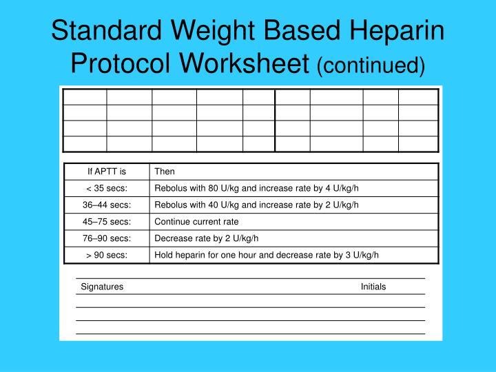 Standard Weight Based Heparin Protocol Worksheet