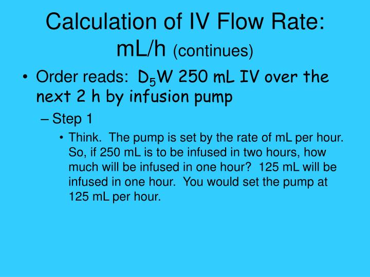 Calculation of IV Flow Rate: mL/h