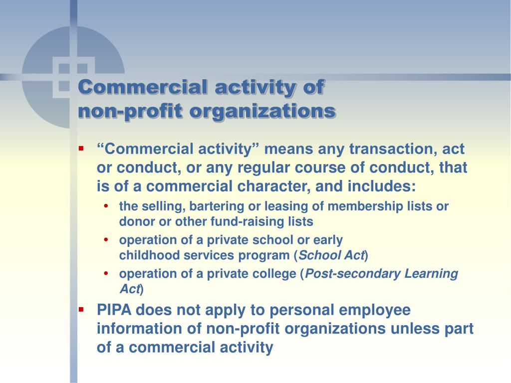 Commercial activity of