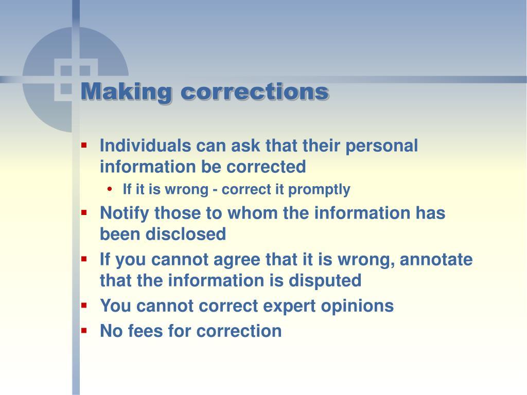 Making corrections