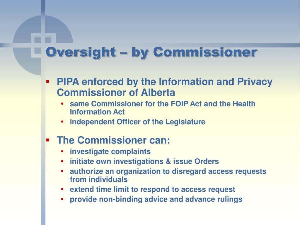 Oversight – by Commissioner