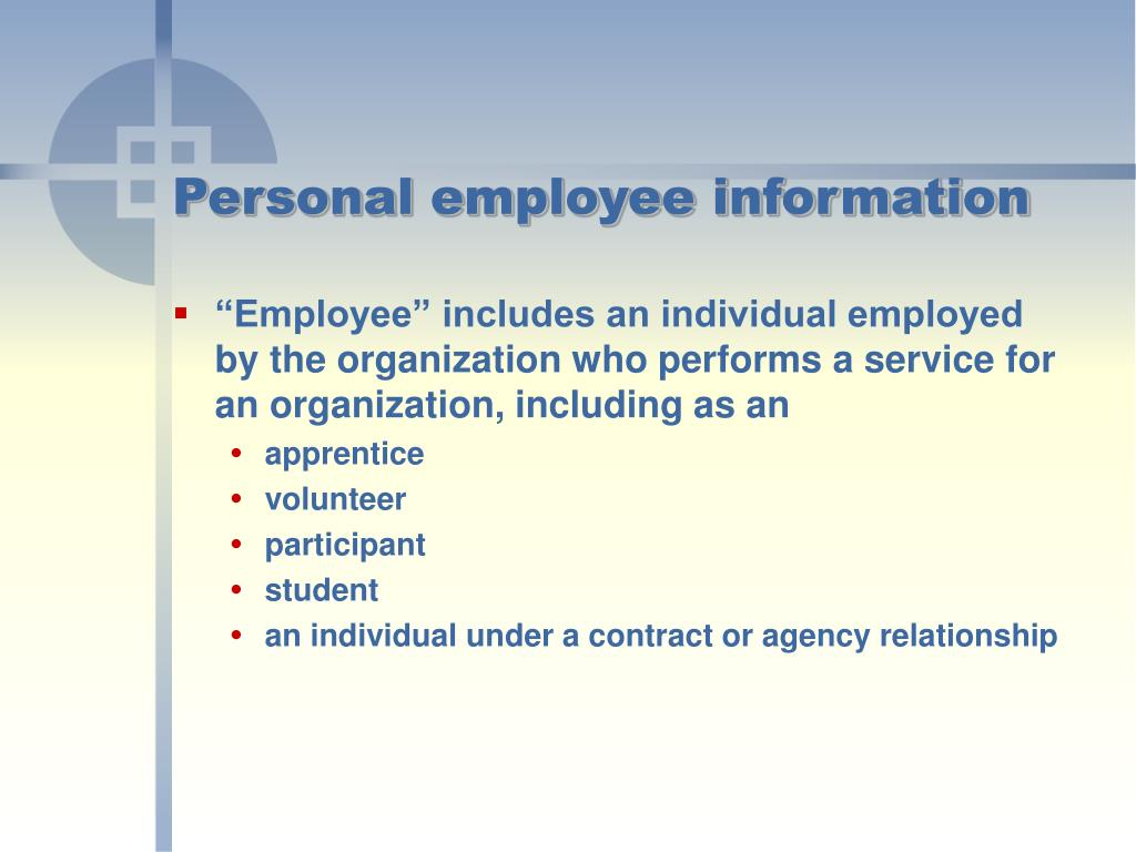 Personal employee information