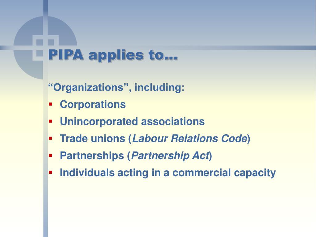 PIPA applies to…